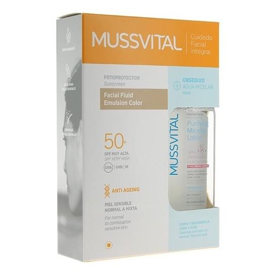 Mussvital Facial Fluid Emulsion Color SPF 50+ 50ml + Agua Micelar 100ml