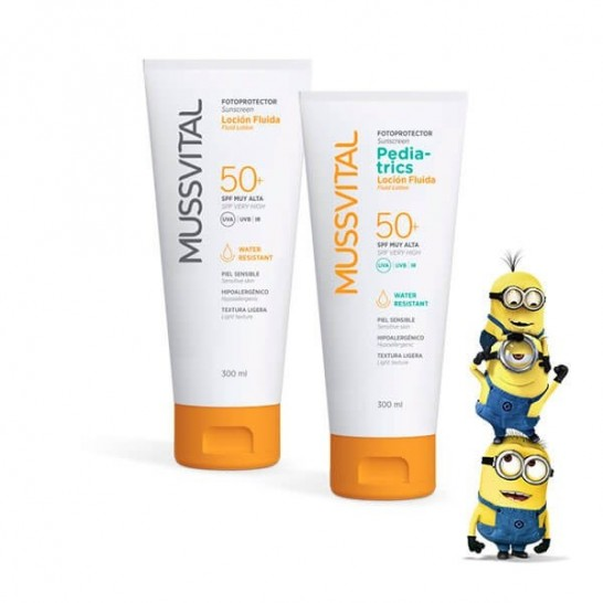 Pack Loción Fotoprotector Adulto Mussvital SPF50+ 300ml + Pediatrics SPF50+ 300ml