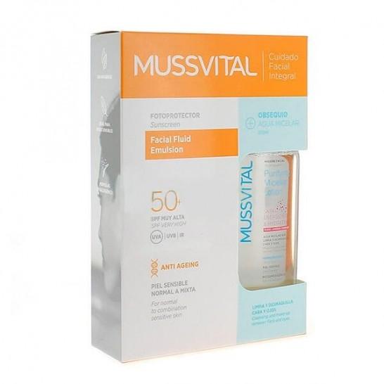 Fotoprotector Facial Loción Antiedad SPF50+ 50ml + Agua Micelar Purifiyng 100ml Mussvital