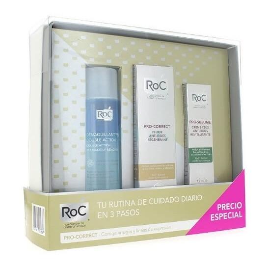 ROC Pack PRO-CORRECT Fluido Antiarrugas 40 ml + Contorno ojos 15 ml + Desmaquillante 125 ml